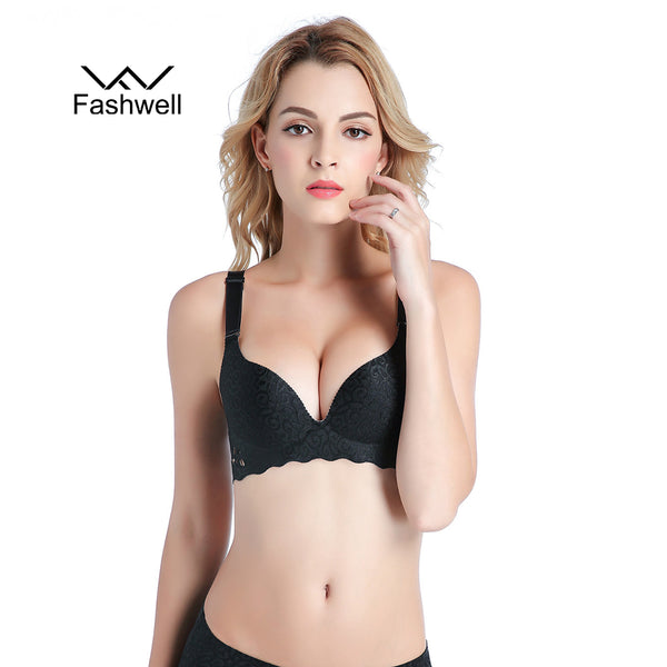 2f554dc687f7f Fashion hollow Solid Bras Women Push Up Bra Sexy Brassiere Underwear  Seamless Wire Free Bras For