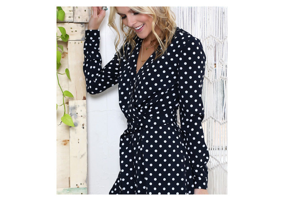 3b1ceddd4bc0 Full Sleeve Jumpsuits Women Rompers Elia Cher Brand 2017 Plus Size Casual Women  Clothing Chic Fashion Dot Print Rompers 6703 - Women s Rompers