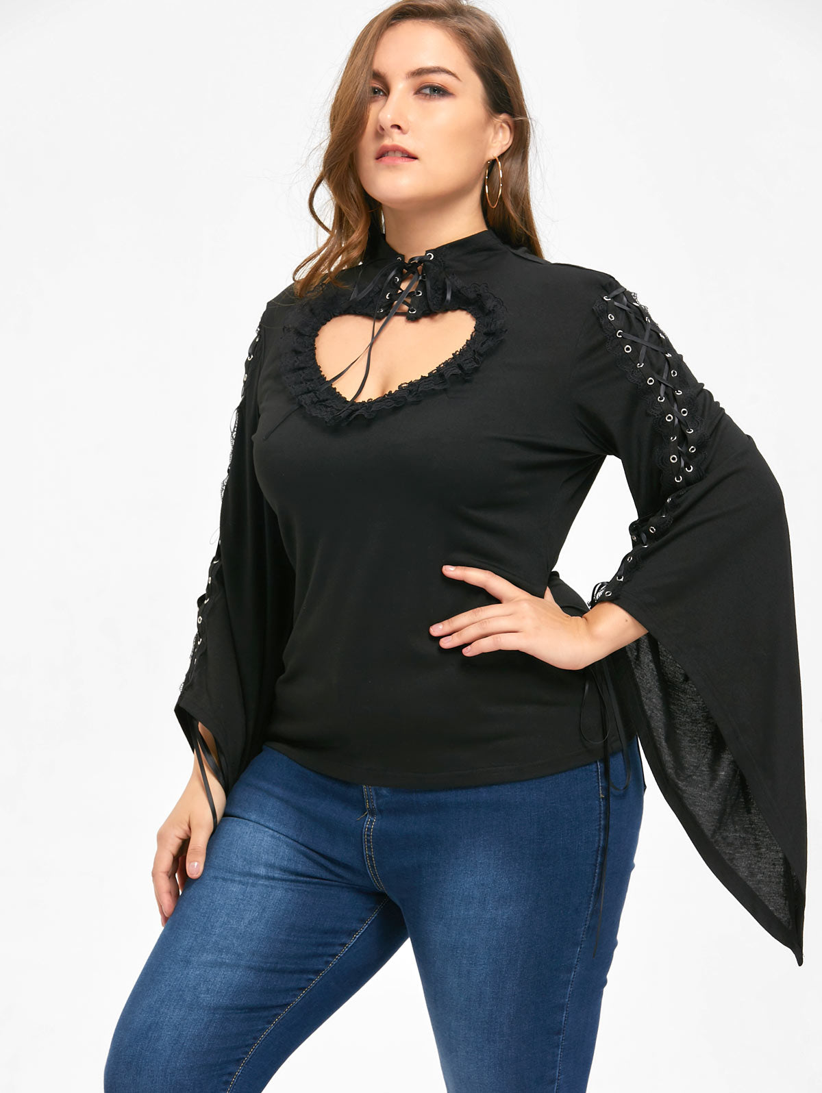 Gamiss Novelty Plus Size Flounced Lace Up Keyhole Top Gothic Women Autumn Winter Shirts Fashion Casual