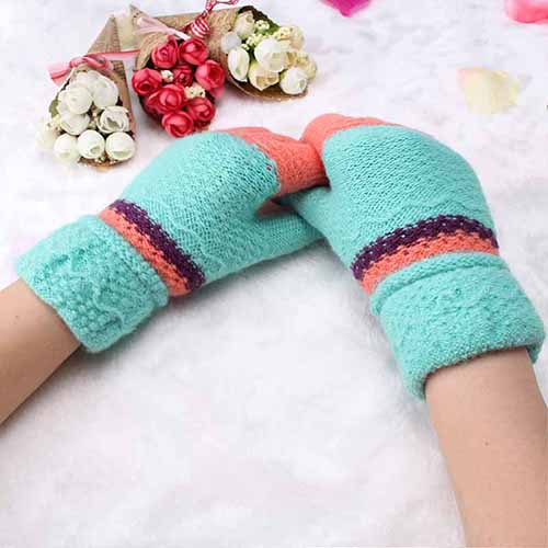 Girls Female Gloves Wool Knitted Winter Gloves Warmer Colorful