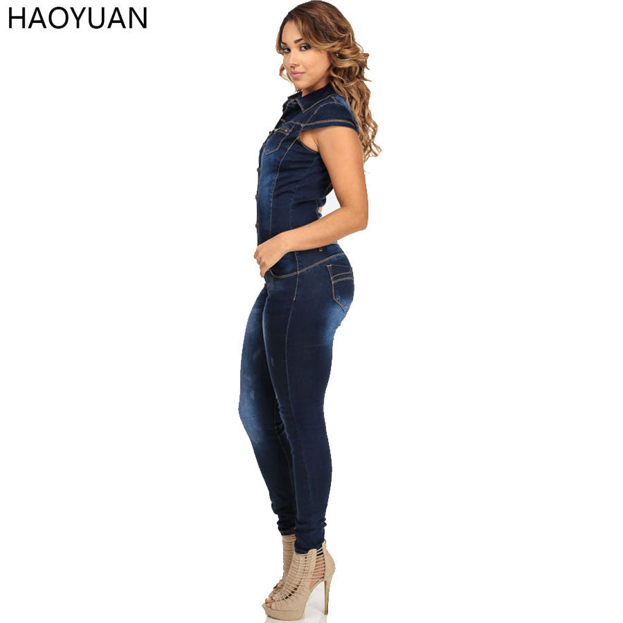 Haoyuan Fashion Autumn Women Denim Jumpsuit Short Sleeve Bodycon