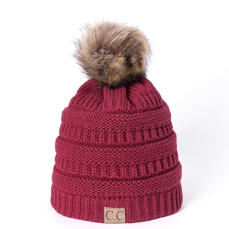 1dbc7a3ca98 High Quality Letter CC Beanies Cotton Add Wool Fur Ball Cap Pom Poms Winter  Hat For