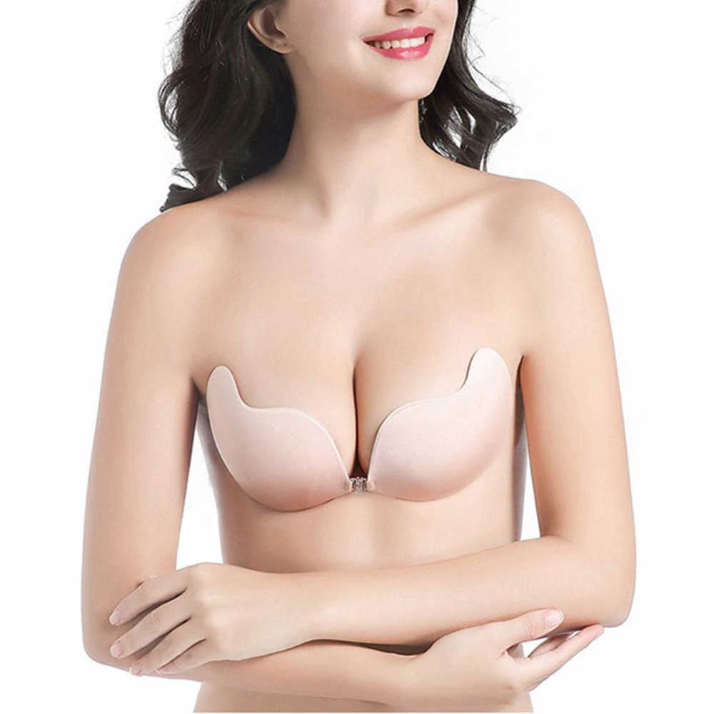 Ishine Bh Bras For Women Silicone Bralette Stick Wing Strapless V Invisible Bra Ear Seamless Silikon Sillicon Push Up Backless
