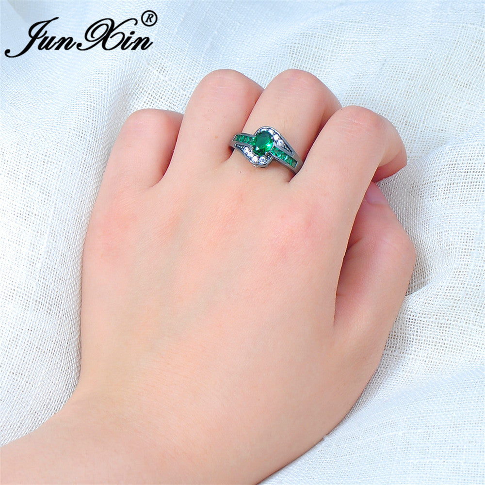 JUNXIN Female Oval Ring Fashion White & Black Gold Filled Jewelry ...