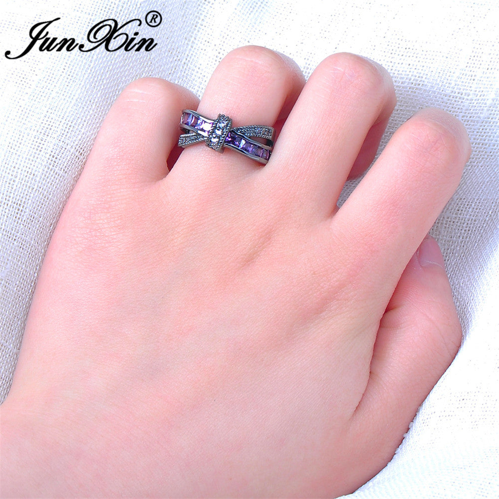 JUNXIN Female Purple Cross Ring Fashion White & Black Gold Filled ...