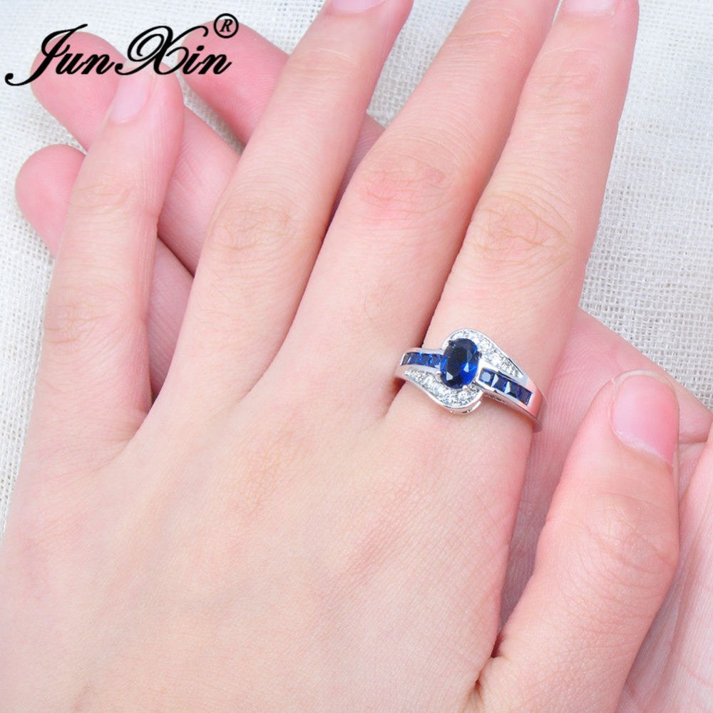 JUNXIN Unique Jewelry Blue Oval Zircon Stone Ring White Gold Filled ...
