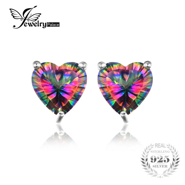 9443d4203 JewelryPalace Heart 3ct Natural Mystic Rainbow Topaz Stud Earrings Genuine  925 Sterling Silver Brand Fine Jewelry