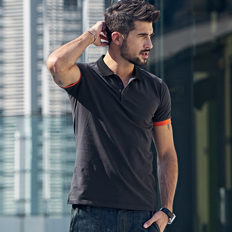 aa6df2134581 KUEGOU Summer Mens Polo Shirts Patchwork Dark Grey Color Brand Clothing  Man s Short Sleeve Clothes Male