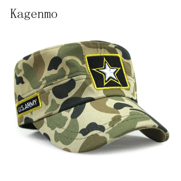 2e0841a683ef4 Kagenmo New Style Cotton Spring And Summer Camouflage Army Hat Fashion Flat  Top Military Hats Male