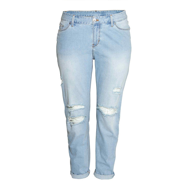 205566297a2c7 Kissmilk Plus Size New Fashion Women Clothing Casual Solid Broken Jeans  Female Button Long Distressed Jeans