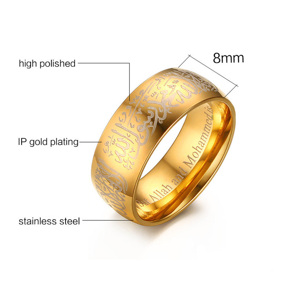 muslim woman product black prayer religious wedding rings meaeguet islamic for gold male color vintage arabic ring jewelry man blackgold allah