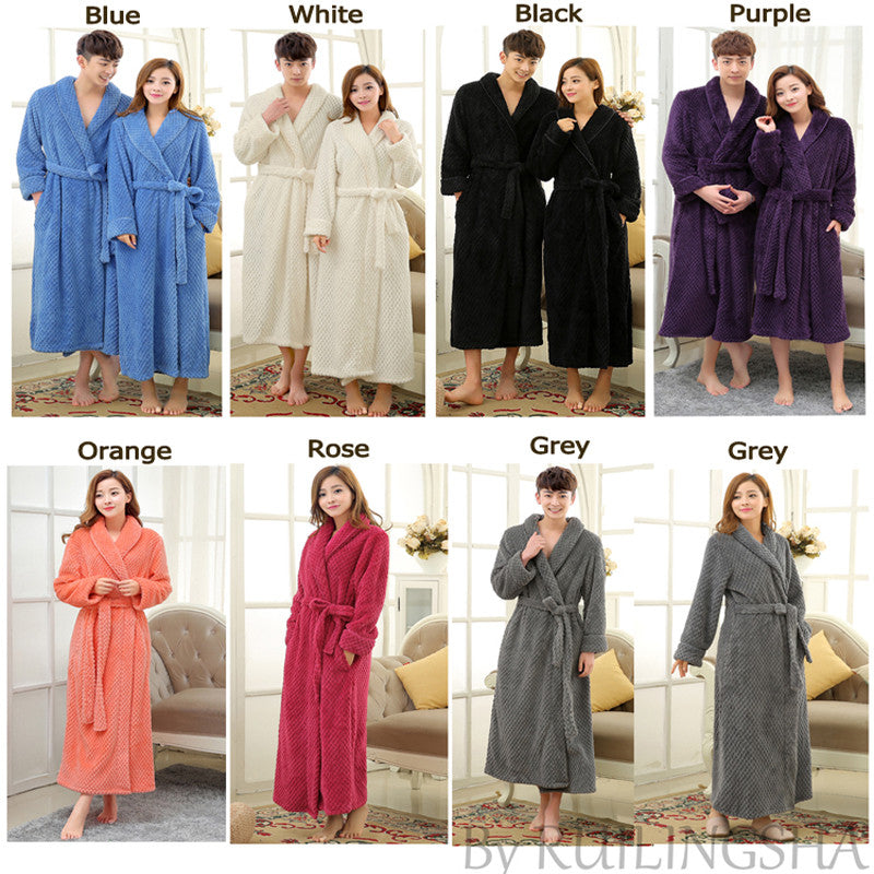 Lovers Luxury Long Flannel Bathrobe Men Women Kimono Waffle Bath