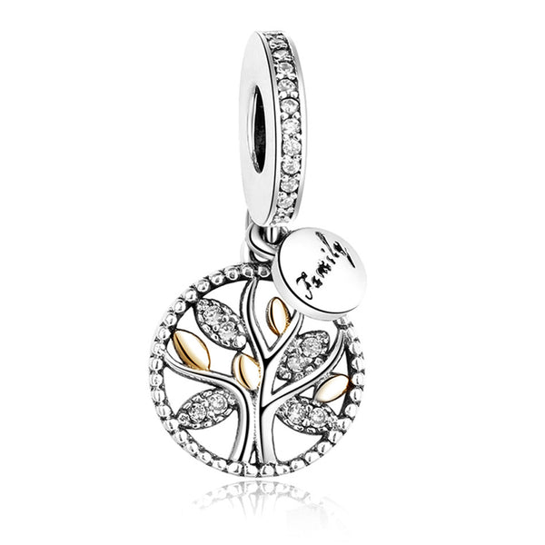 b0431966d Luxury 925 Sterling Silver FAMILY TREE WITH CUBIC ZIRCONIA Bead Charms Fit  Original Pandora Charm Bracelet