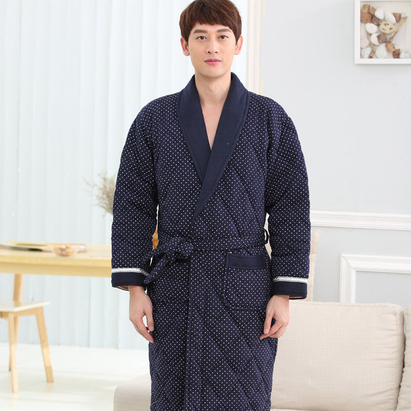 Men Pajamas Thicken Down Cotton Bath Robe Casual Dressing Gown Long ...