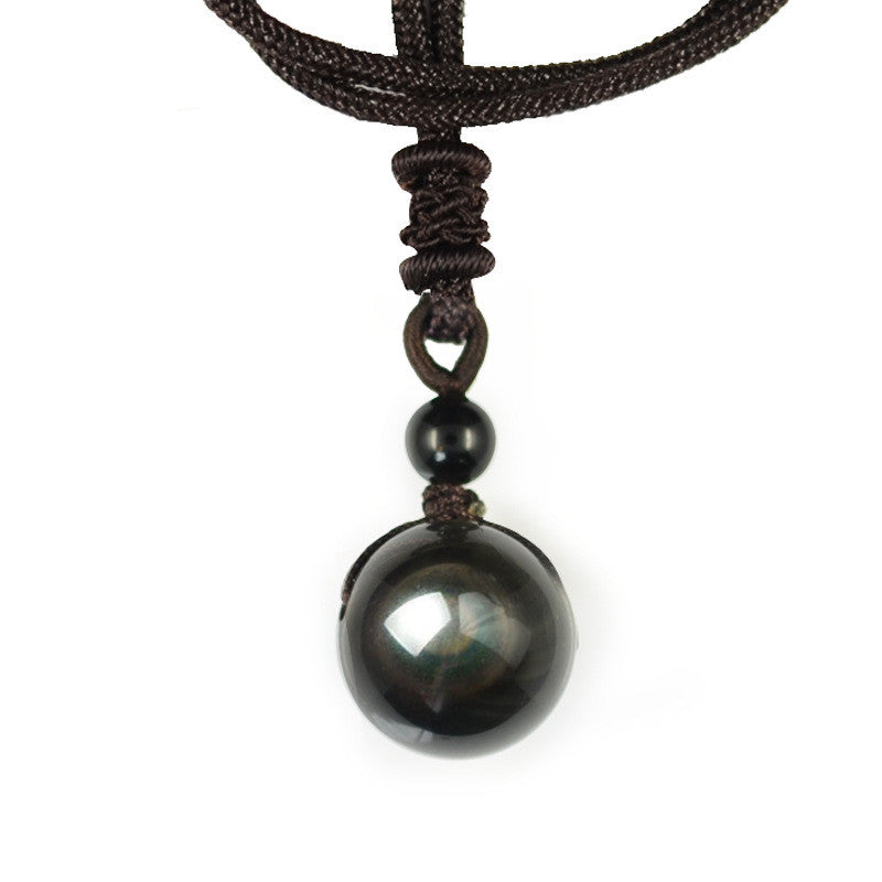 Natural stone pendant necklace for women and men black obsidian natural stone pendant necklace for women and men black obsidian rainbow eye beads ball transfer lucky aloadofball Image collections