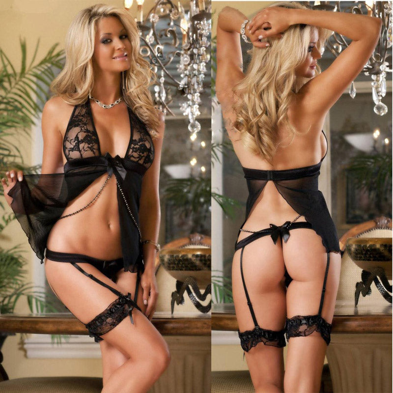 New Porn Women Lingerie Sexy Hot Erotic Halter Hollow Out Erotic Lingerie Porno Costumes Elastic Transparent Sexy Underwear Womens Babydolls Chemises