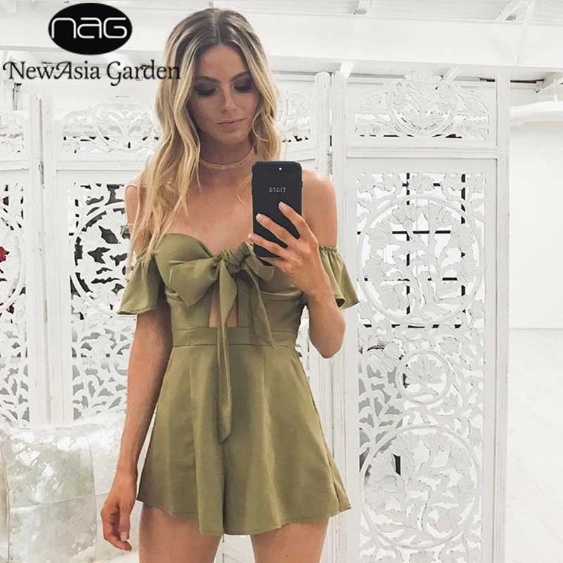 4d4cb7fbd973 NewAsia Garden Off Shoulder Flare Sleeve Bow Tie Front Bustier Padded Women  Playsuit Casual Strapless Rompers