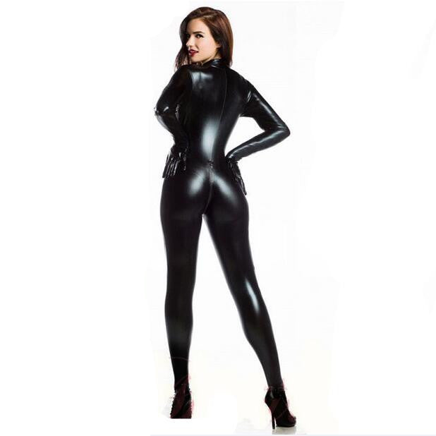 Plus Xxl Size Womes 2way Zipper Faux Leather Catsuit Clubwear Ds Latex Cat Women With Gloves