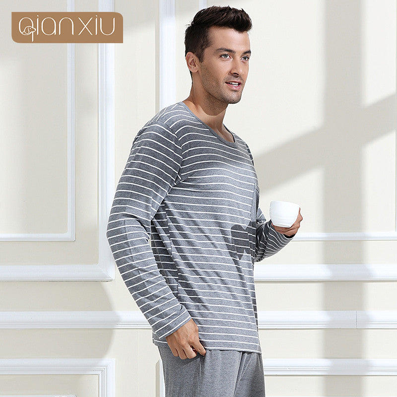 Qianxiu Pajamas Modal Sleepwear O Neck Casual Stripe Lounge Wear