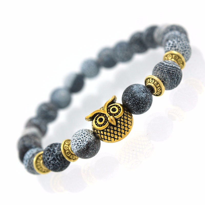 men owl women products black bracelet gold volcanic blue for color alloy strand stone nature bracelets accessories silver