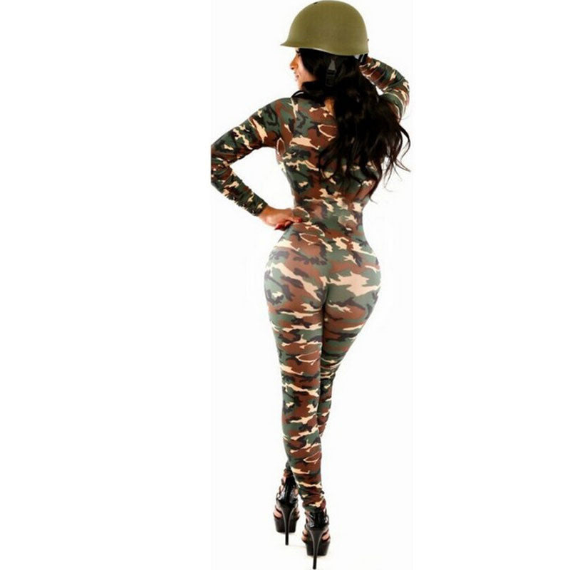 Sexy Jumpsuit Camouflage Women Rompers The Army Soldier Catsuit Long