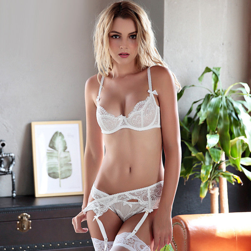1753984ec1a Sexy Mousse New Arrival Sexy Women Bra Set Lace 1 2 Cup Transparent  Lingerie Young Girls ...