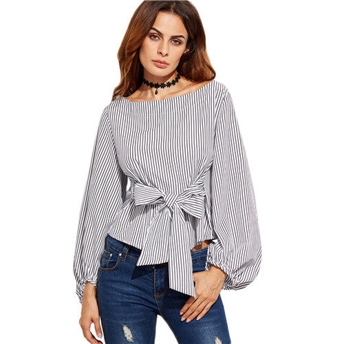 Shein Women Blouses Black And White Striped Long Sleeve Womens Tops