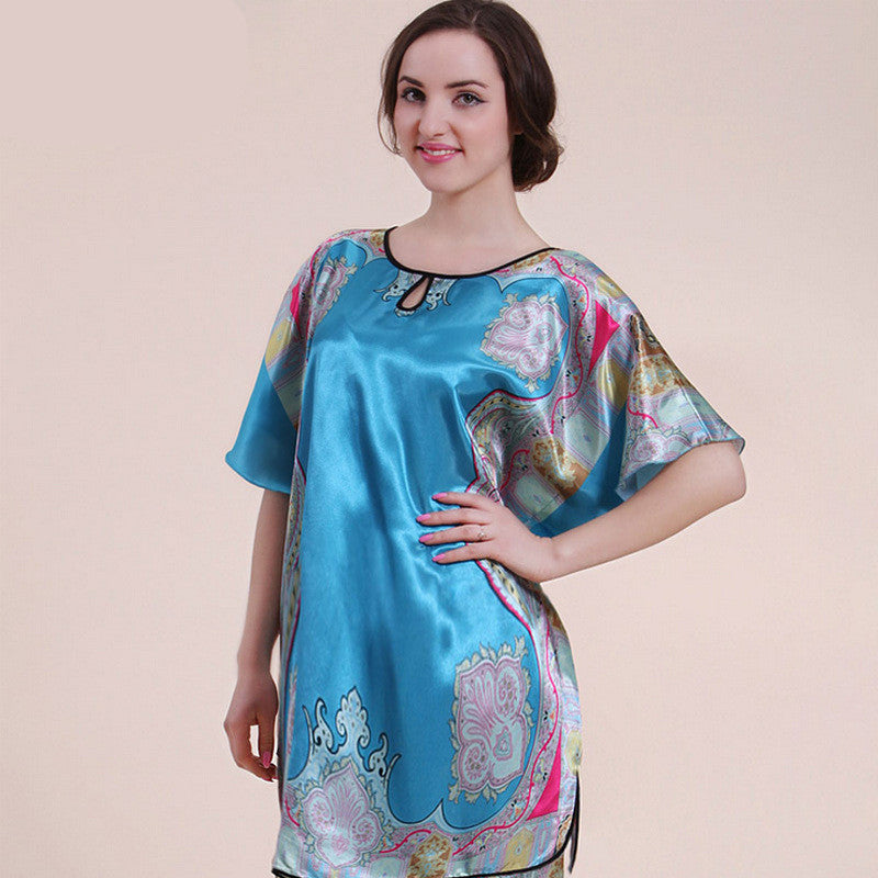 Summer Printed Short Skirt Women Faux Silk Bathrobe Sleepwear ...