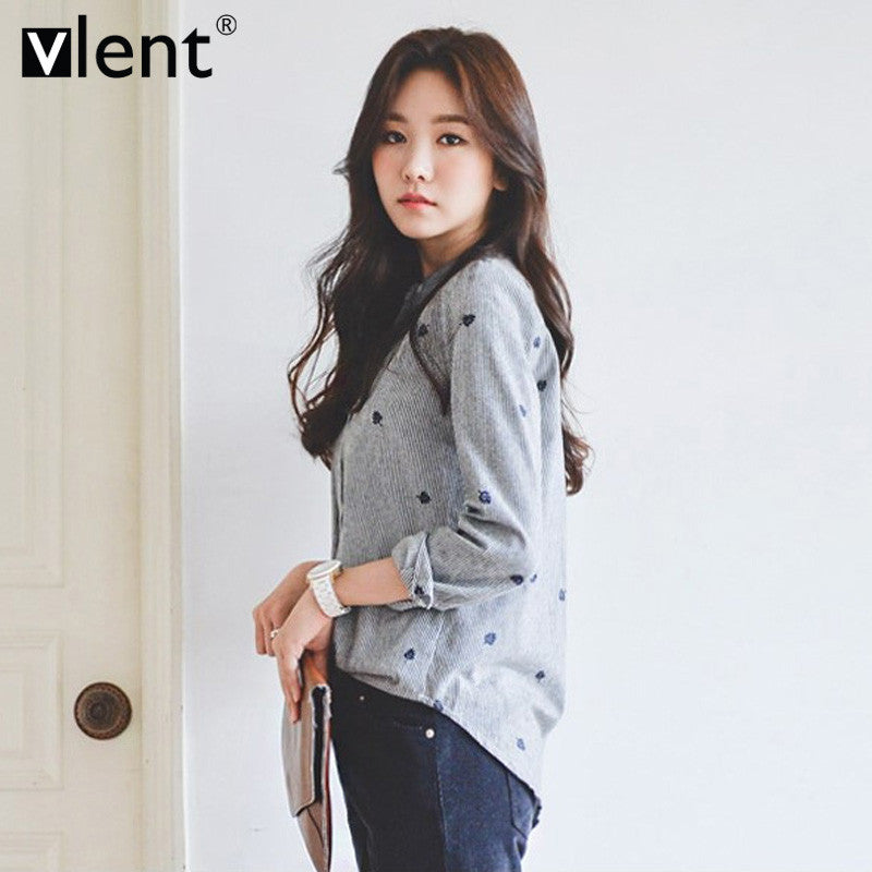 Vlent Leaves Embroidery Autumn Tops Cotton Casual Striped Long