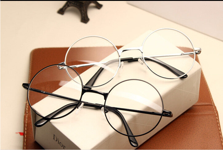 Women Vintage Glasses Frame Plain Mirror Big Round Metal Optical ...