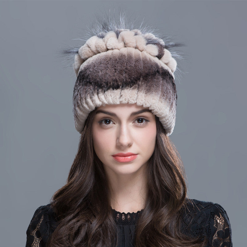 b1f3eab0b04 ZIRUNKING Women Winter Fur Hat Warm Rex Rabbit Fur Hats With Fox Fur Flower  Top Women Quality Casual Beanies ZH1601 - Women s Skullies   Beanies