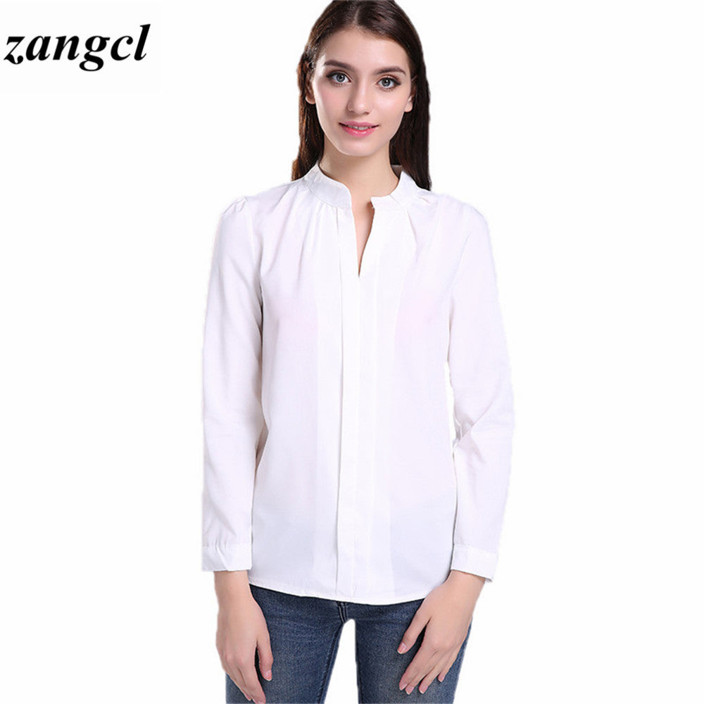 Zangcl Casual White Women Blouse Ladies Solid Elegant V Neck Blouses