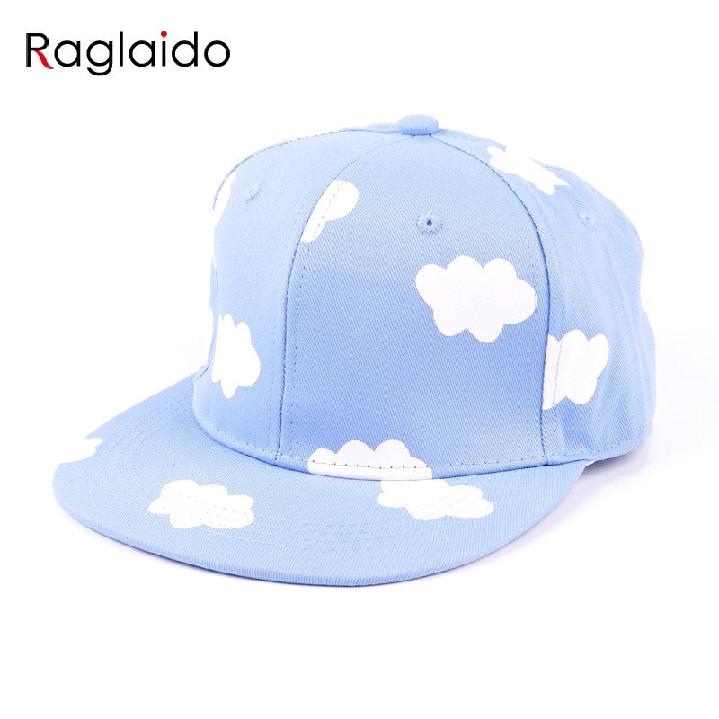 Ladies Hip Hop Hats Pink And Blue Clouds In Summer Fresh And Cute