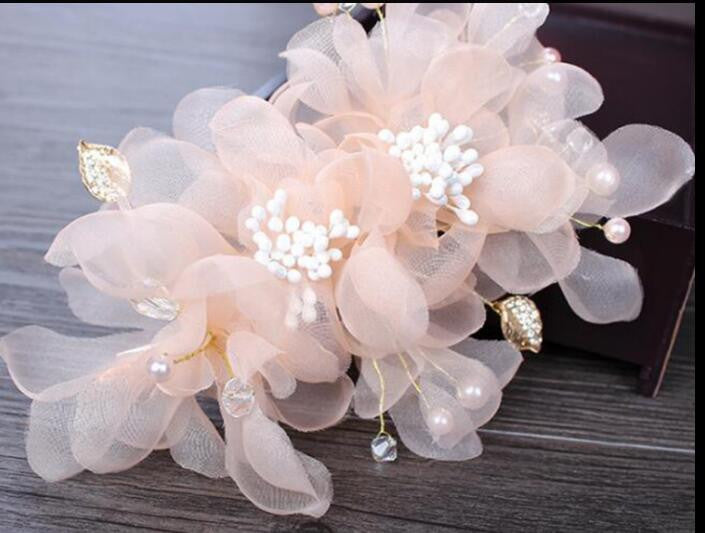 Wedding party romantic white pink voile silk flower hair pin with wedding party romantic white pink voile silk flower hair pin with beads bride handmade hair jewelry bridal hair accessories womens hair accessories mightylinksfo