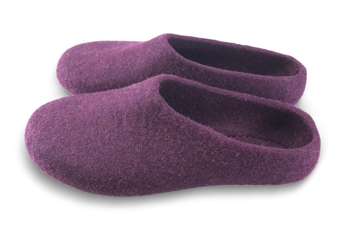 Kyrgies Classic Wool Slippers - Low-Back - Plum Men's