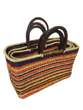 Handwoven Seagrass Reusable Shopping Bag for Grocery, Gardening, Picnics and More (stripes 11019: multi-colored)