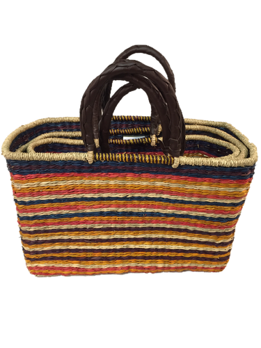 Handwoven Seagrass Reusable Shopping Bag for Grocery, Gardening, Picnics and More - Set of 2 (stripes: multi-colored)