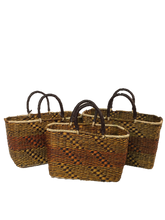 Handwoven Seagrass Reusable Shopping Bag for Grocery, Gardening, Picnics and More - Set of 2 (pattern: yellow/pink/brown)