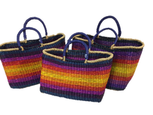 Handwoven Seagrass Reusable Shopping Bag for Grocery, Gardening, Picnics and More - Set of 2 (rainbow)