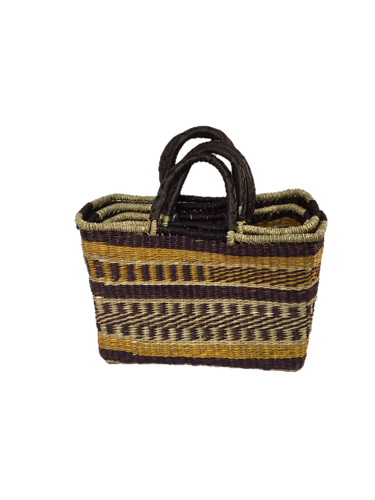 Handwoven Seagrass Reusable Shopping Bag for Grocery, Gardening, Picnics and More - Set of 2 (pattern: yellow/brown)