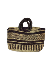 Handwoven Seagrass Reusable Shopping Bag for Grocery, Gardening, Picnics and More (stripes 11641: DkBrown/natural)