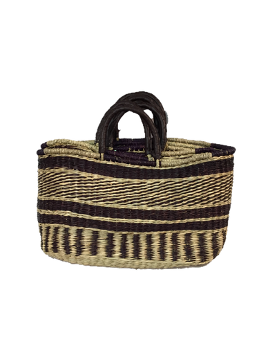 Handwoven Seagrass Reusable Shopping Bag for Grocery, Gardening, Picnics and More - Set of 2 (stripes: DkBrown/natural)