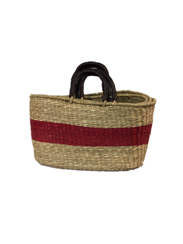 Handwoven Seagrass Reusable Shopping Bag for Grocery, Gardening, Picnics and More - Set of 2 (natural with red stripe)