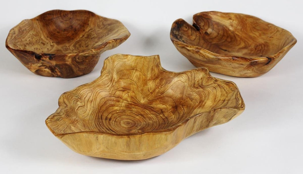 Hand-Crafted Root Wood Live Edge Bowl - Medium (12-13