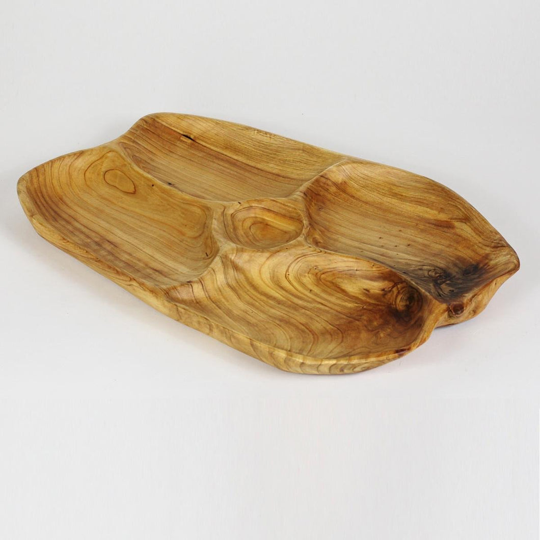 Hand-Crafted Root Wood Live Edge Hand-Crafted Root Wood Live Edge Divided Platter with dip cup (17-19