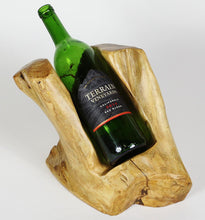Hand-Crafted Root Wood Live Edge Wine Bottle Holder - 1