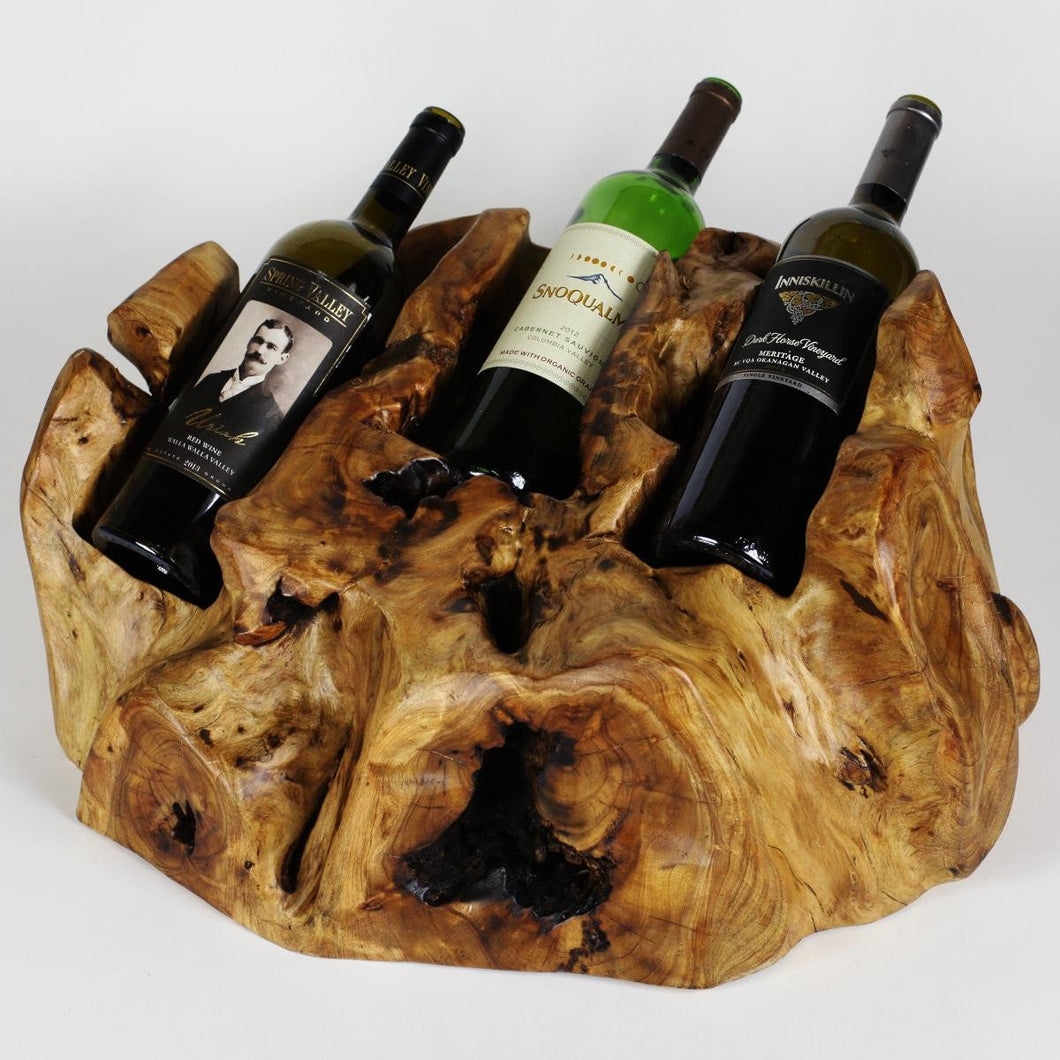 Hand-Crafted Root Wood Live Edge Wine Bottle Holder - 3