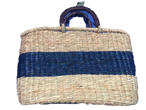Handwoven Seagrass Reusable Shopping Bag for Grocery, Gardening, Picnics and More - Set of 2 (natural with blue stripe)