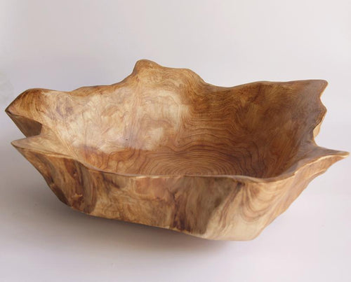 Hand-Crafted Root Wood Live Edge Bowl - Medium Large (14-15