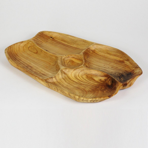 Hand-Crafted Root Wood Live Edge Divided Platter with dip cup - Large - 5 sections  (20-21